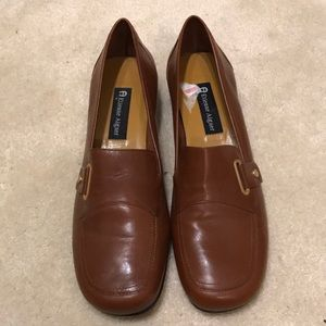Etienne Aigner Dunk Leather Mini Wedge Loafer